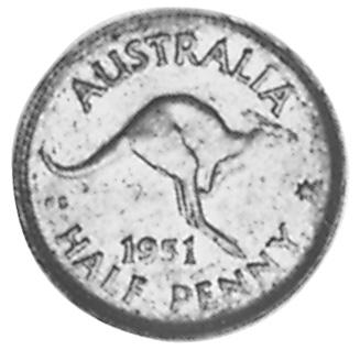 1949-1952 Australia 1/2 Penny reverse