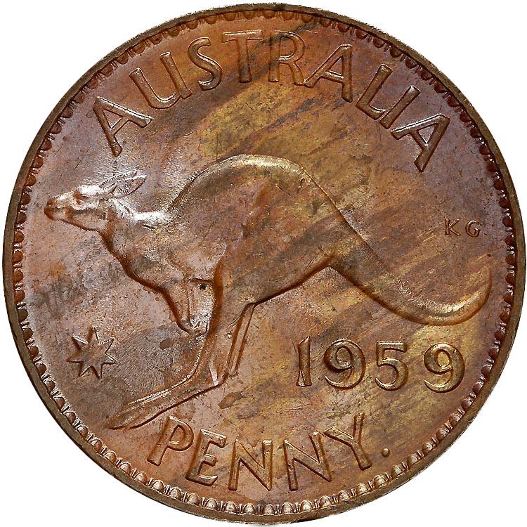 1955-1964 Australia Penny reverse