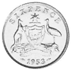 Australia Sixpence reverse