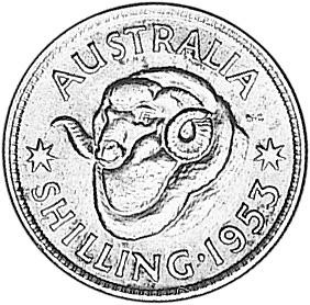 1953-1954 Australia Shilling reverse