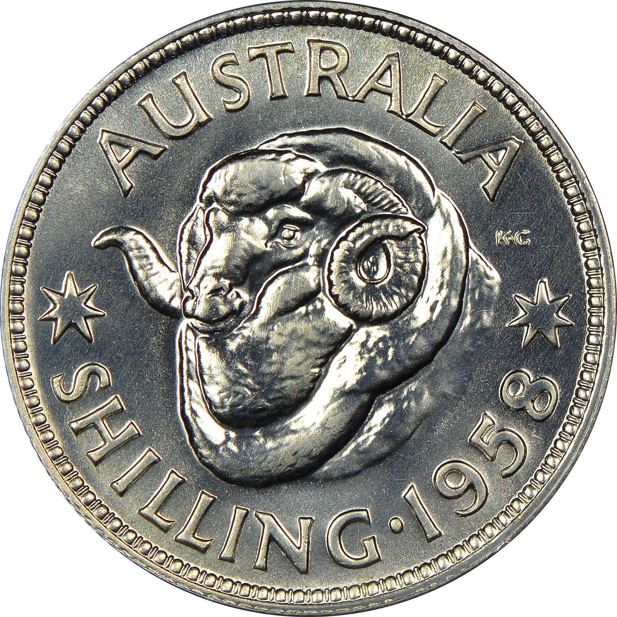 1955-1963 Australia Shilling reverse