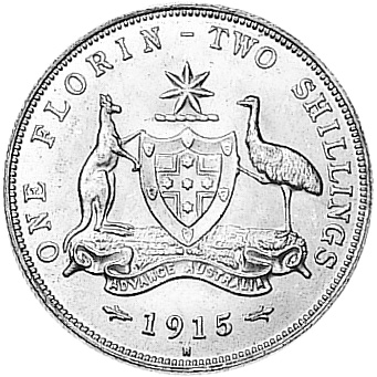 1911-1936 Australia Florin reverse