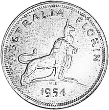 1954 Australia Florin reverse