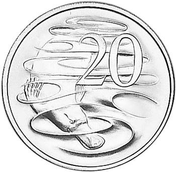1966-1984 Australia 20 Cents reverse