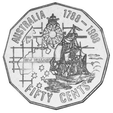 1988 Australia 50 Cents reverse