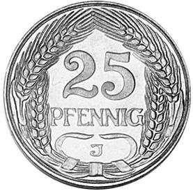 Germany - Empire 25 Pfennig reverse