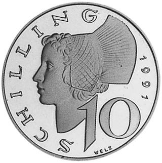 Austria 10 Schilling reverse
