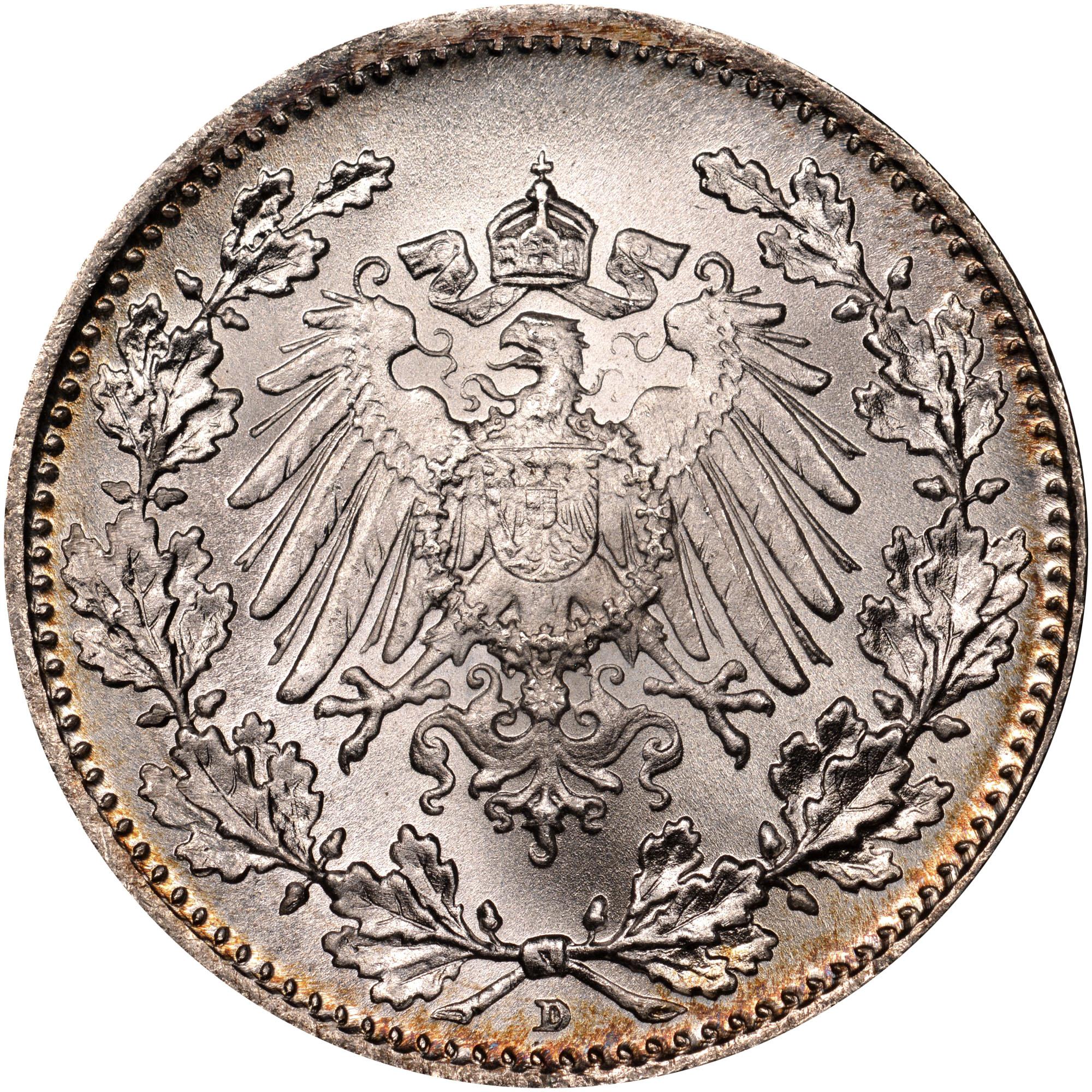 1808/7-1919/1619 Germany - Empire 1/2 Mark reverse