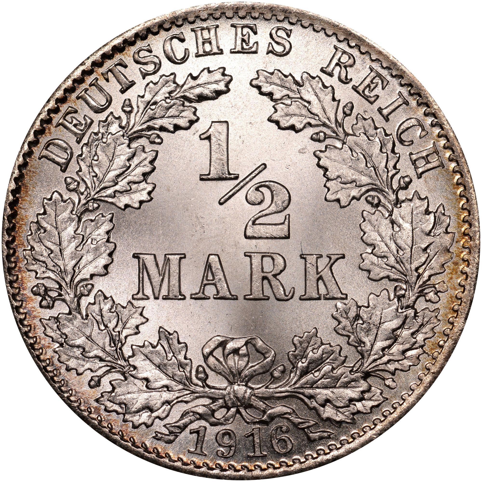 1808/7-1919/1619 Germany - Empire 1/2 Mark obverse