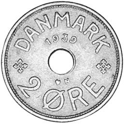 1927-1940 Denmark 2 Ore reverse