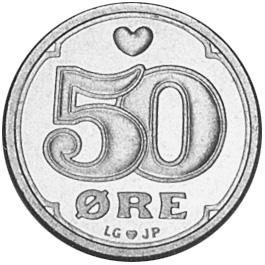 Denmark 50 Øre reverse