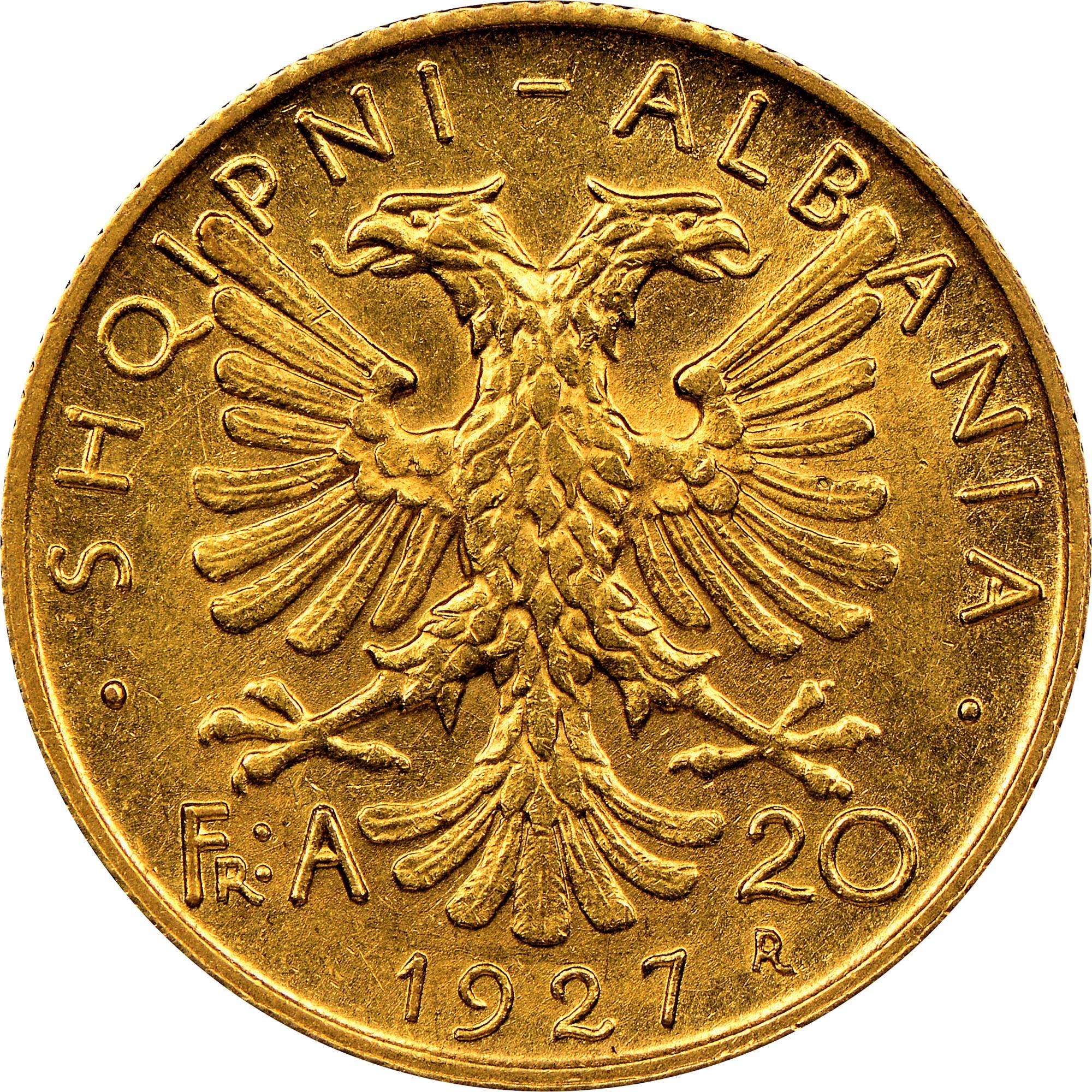 Albania 20 Franga Ari reverse