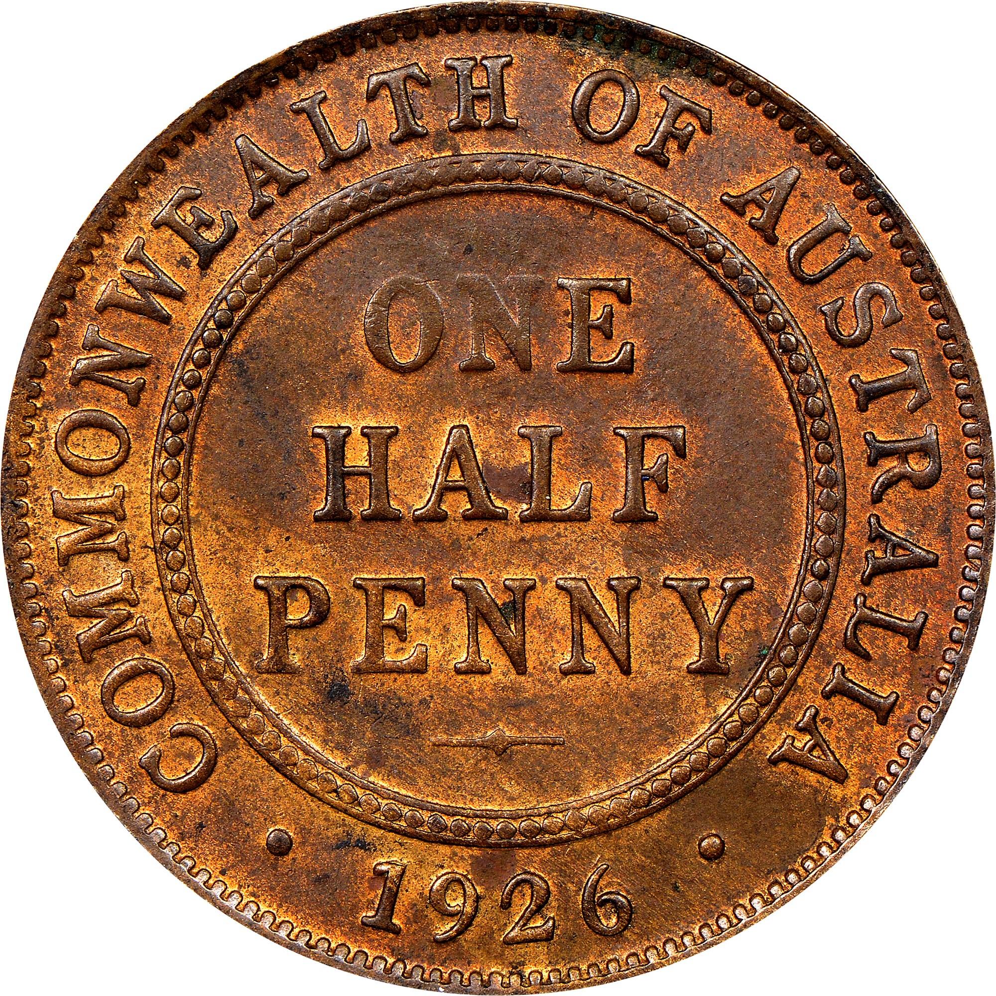 Australia 1/2 Penny reverse