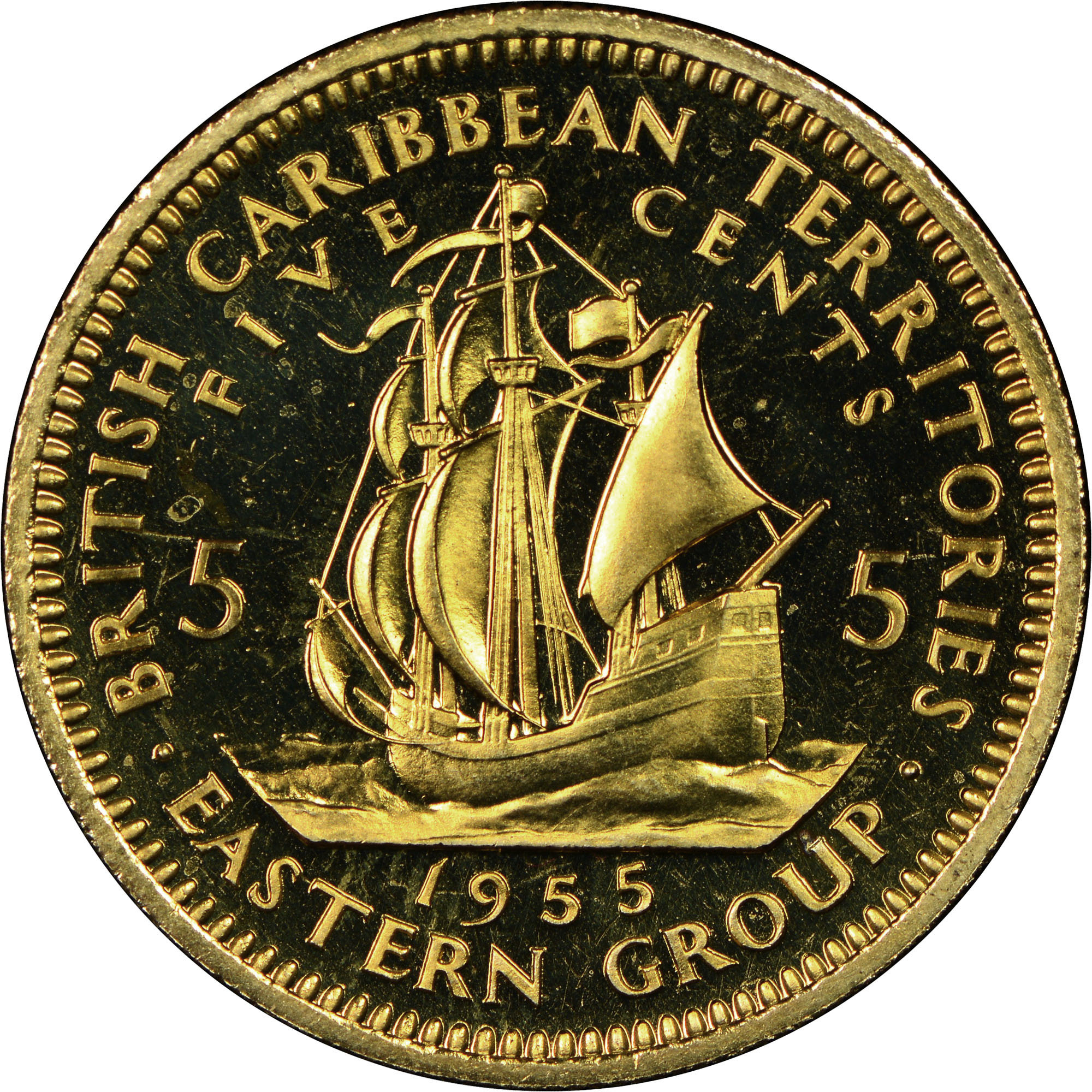 1955-1965 East Caribbean States 5 Cents reverse