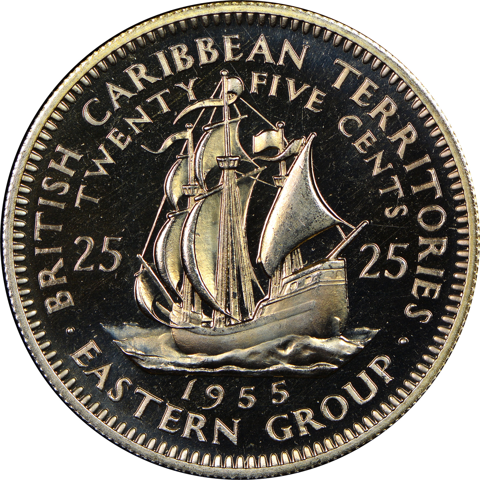 1955-1965 East Caribbean States 25 Cents reverse
