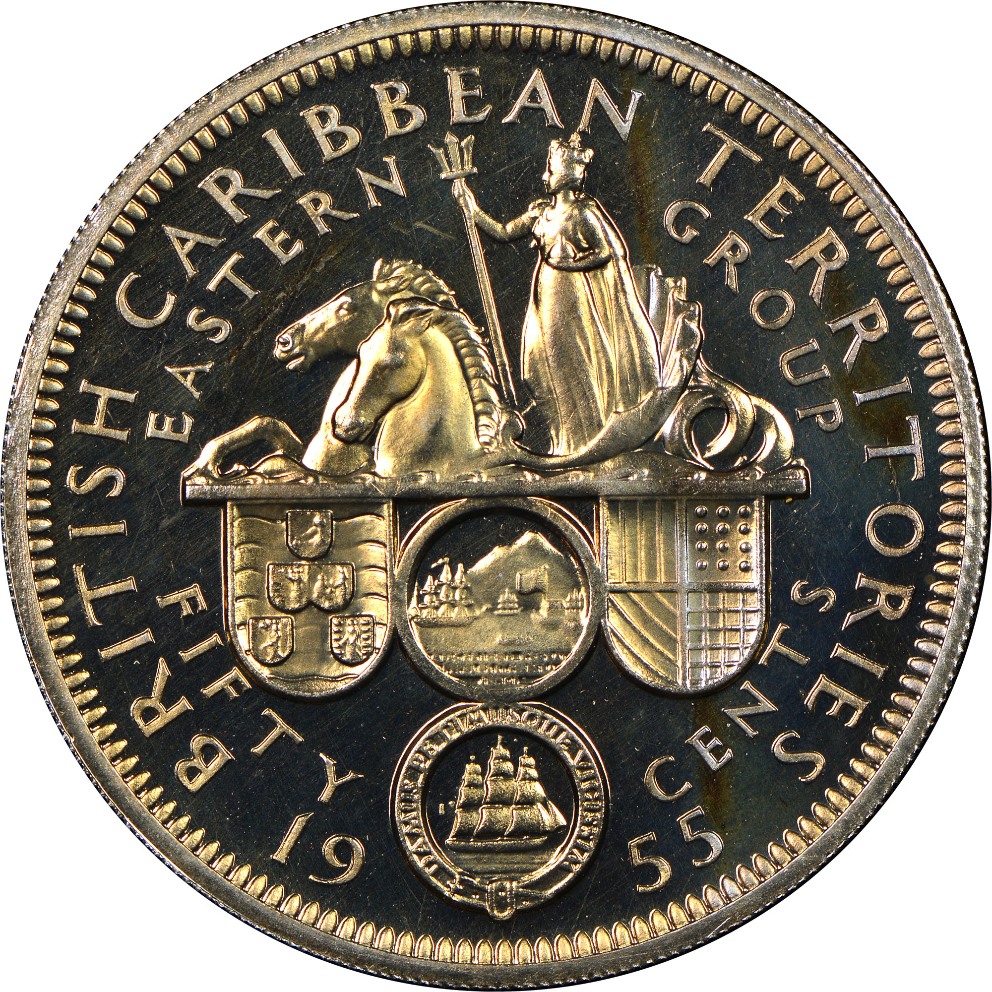 1955-1965 East Caribbean States 50 Cents reverse