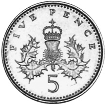 1990-1997 Great Britain 5 Pence reverse