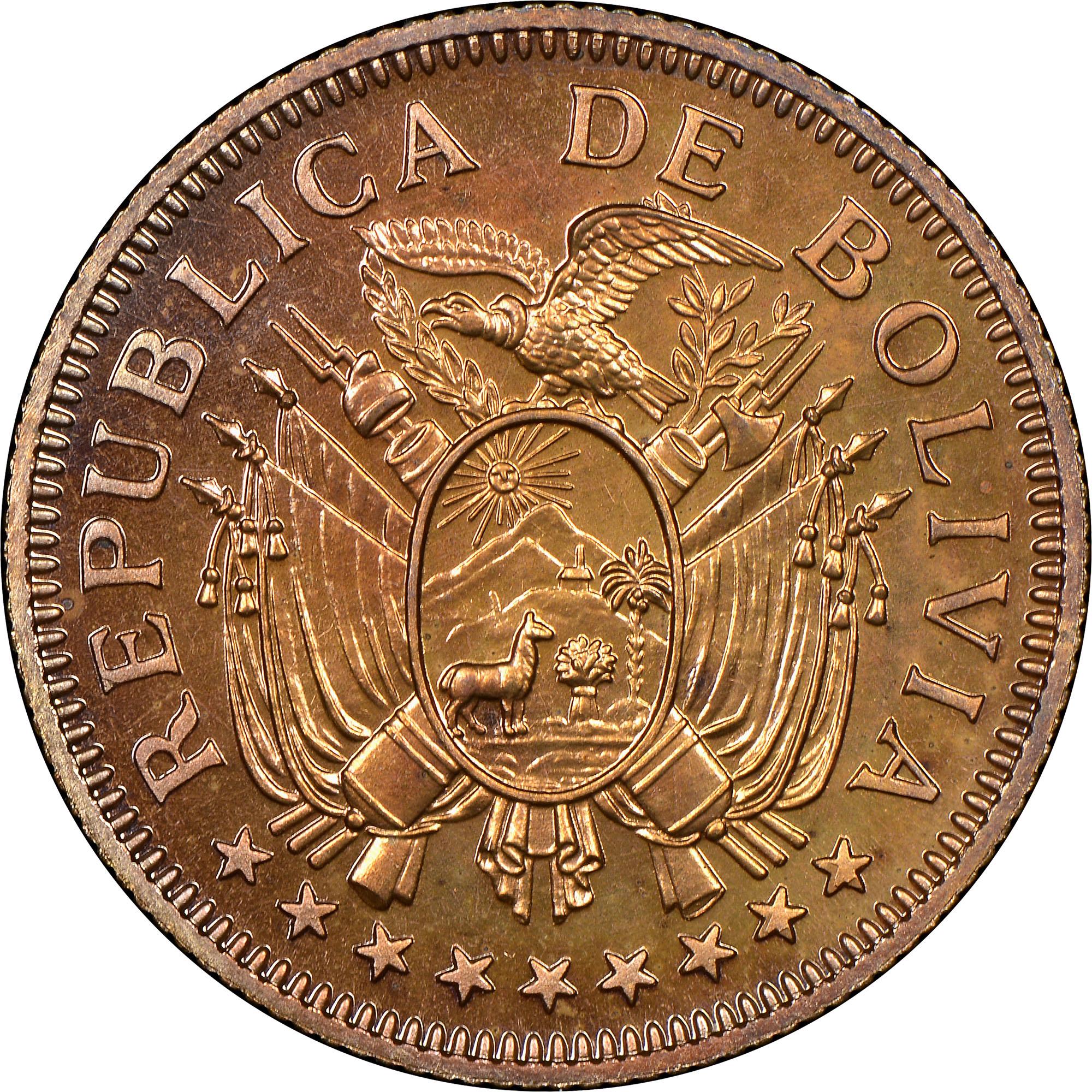 Bolivia 5 Bolivianos obverse