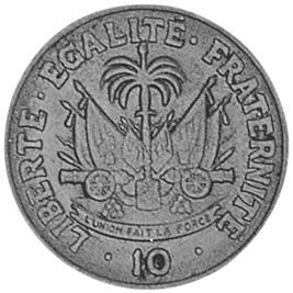 1958-1970 Haiti 10 Centimes reverse