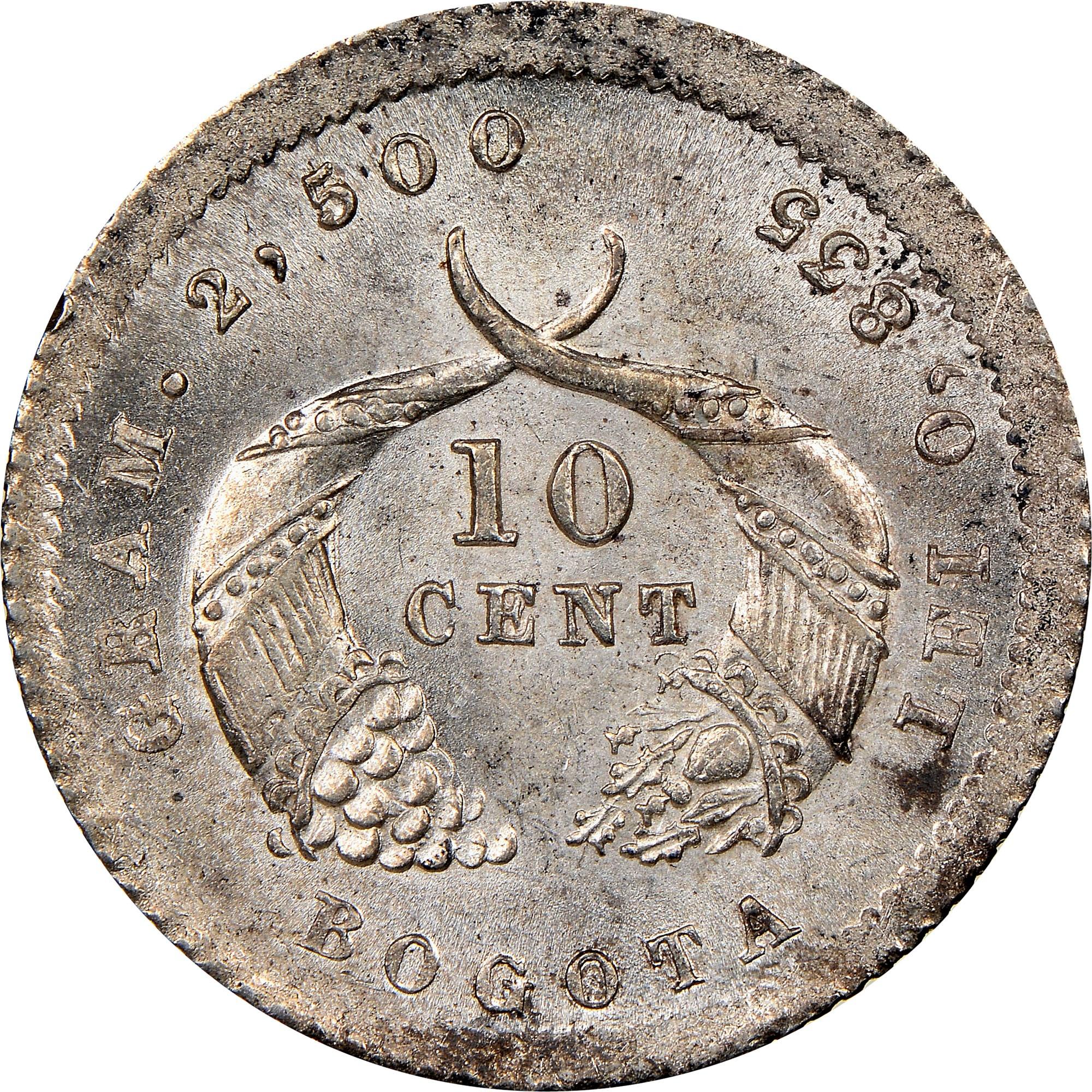 Colombia 10 Centavos reverse
