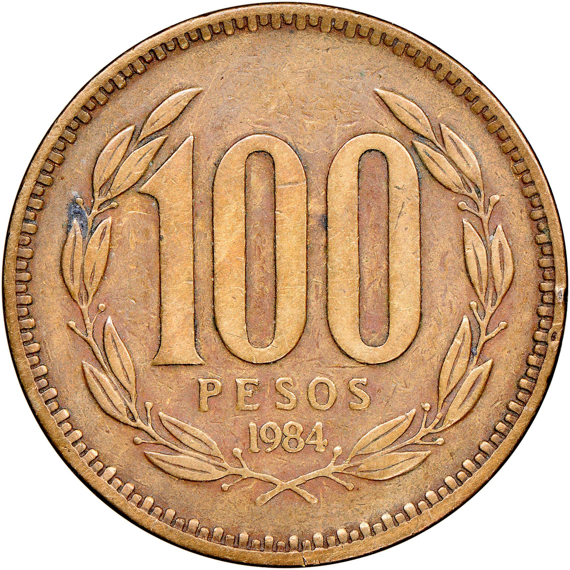 Chile 100 Pesos reverse