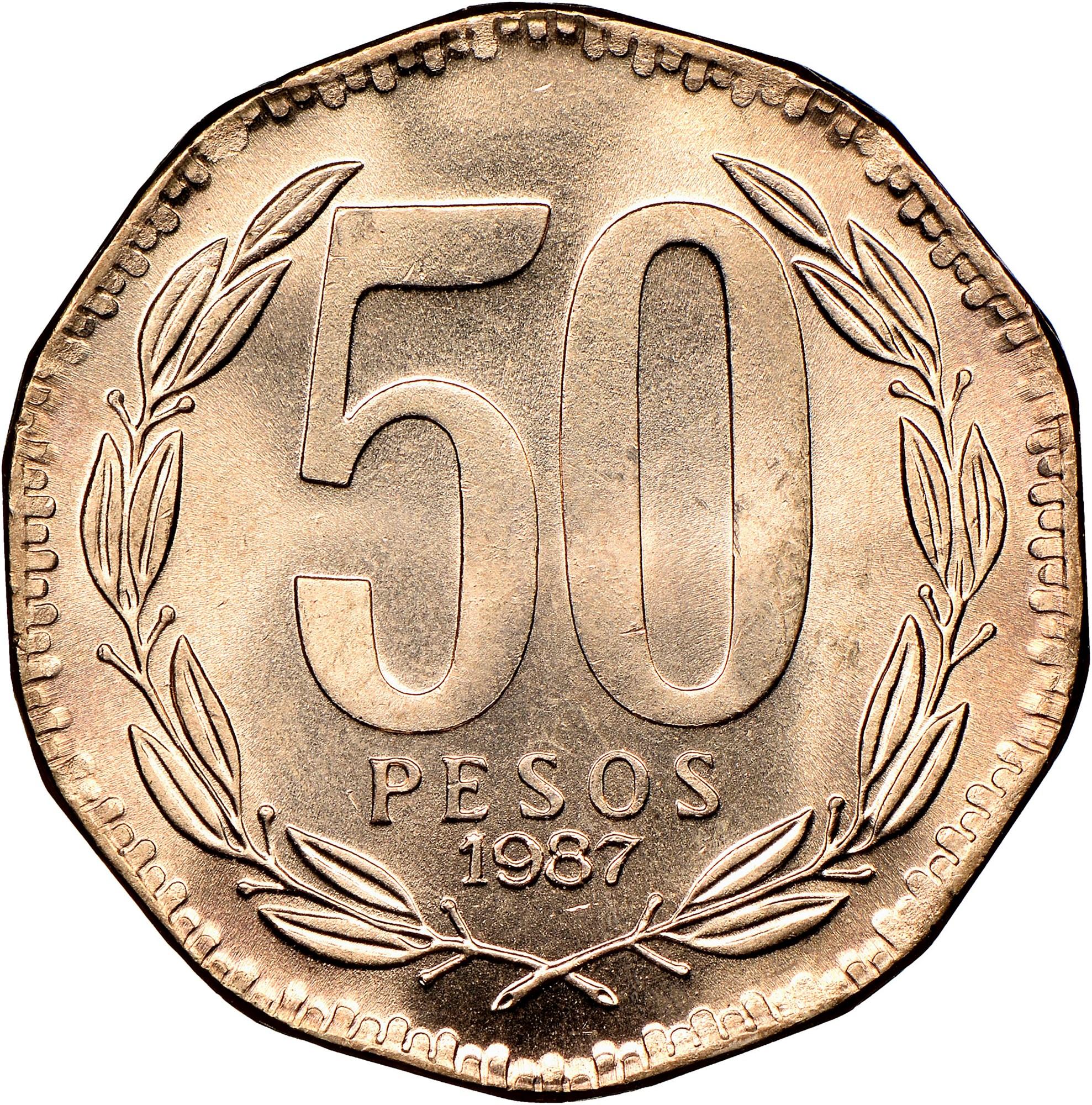 Chile 50 Pesos reverse