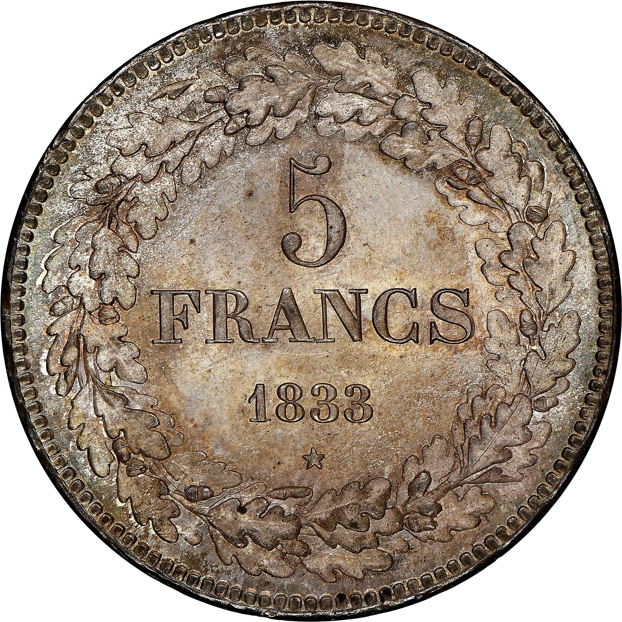 Belgium 5 Francs reverse