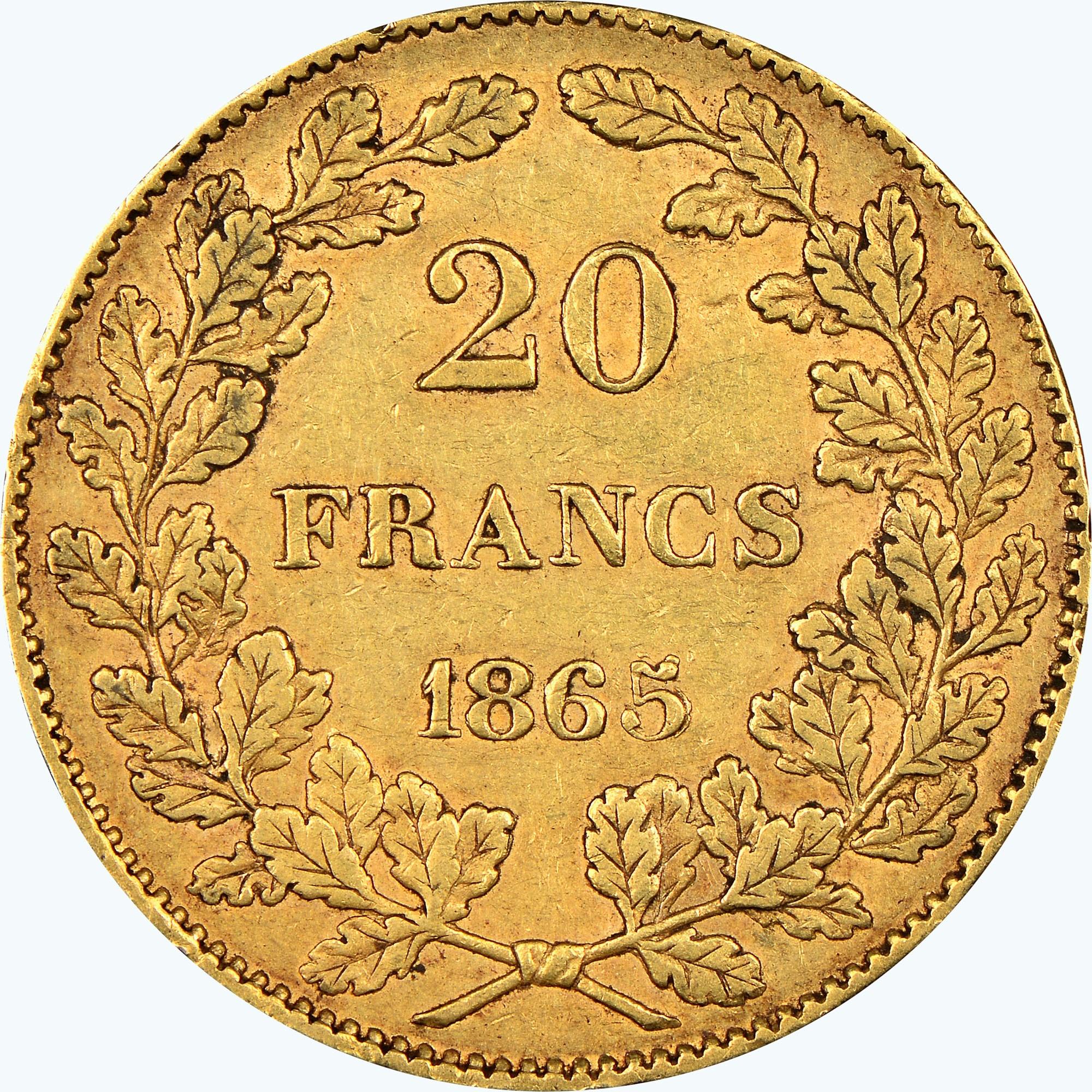 Belgium 20 Francs reverse