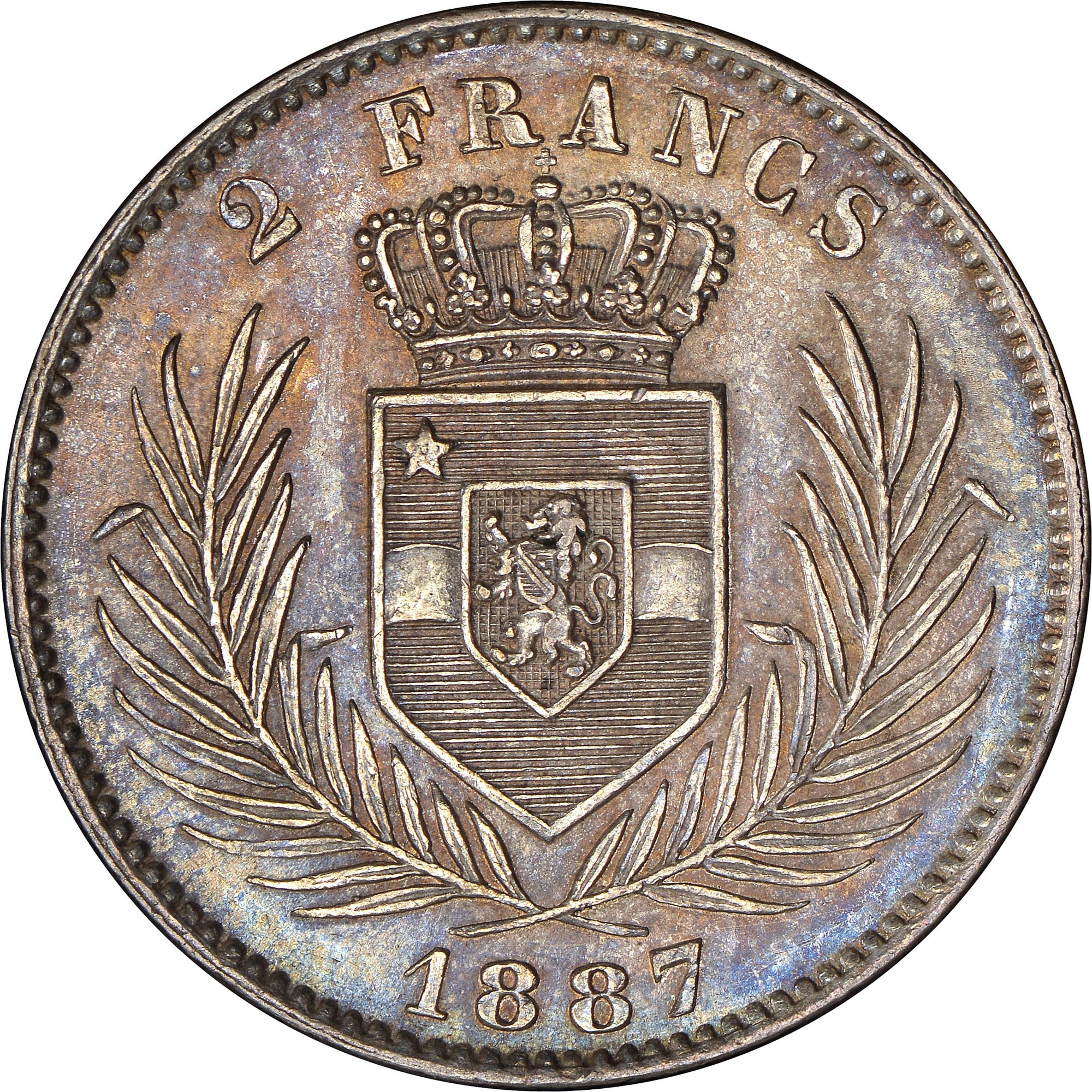 Congo Free State 2 Francs reverse