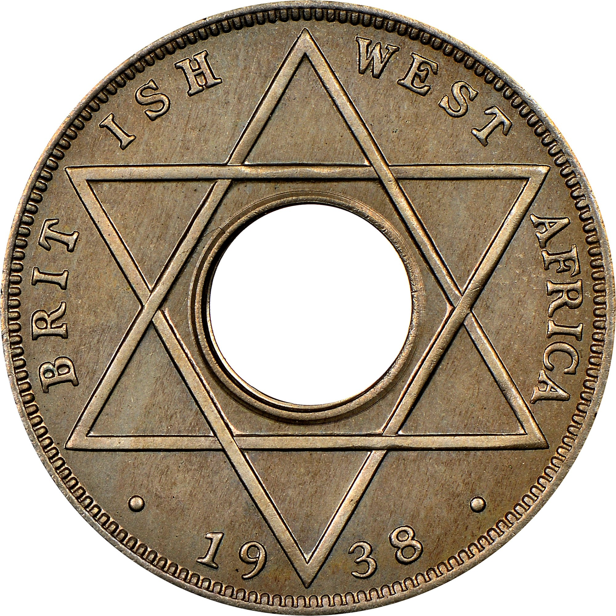 British West Africa 1/10 Penny reverse