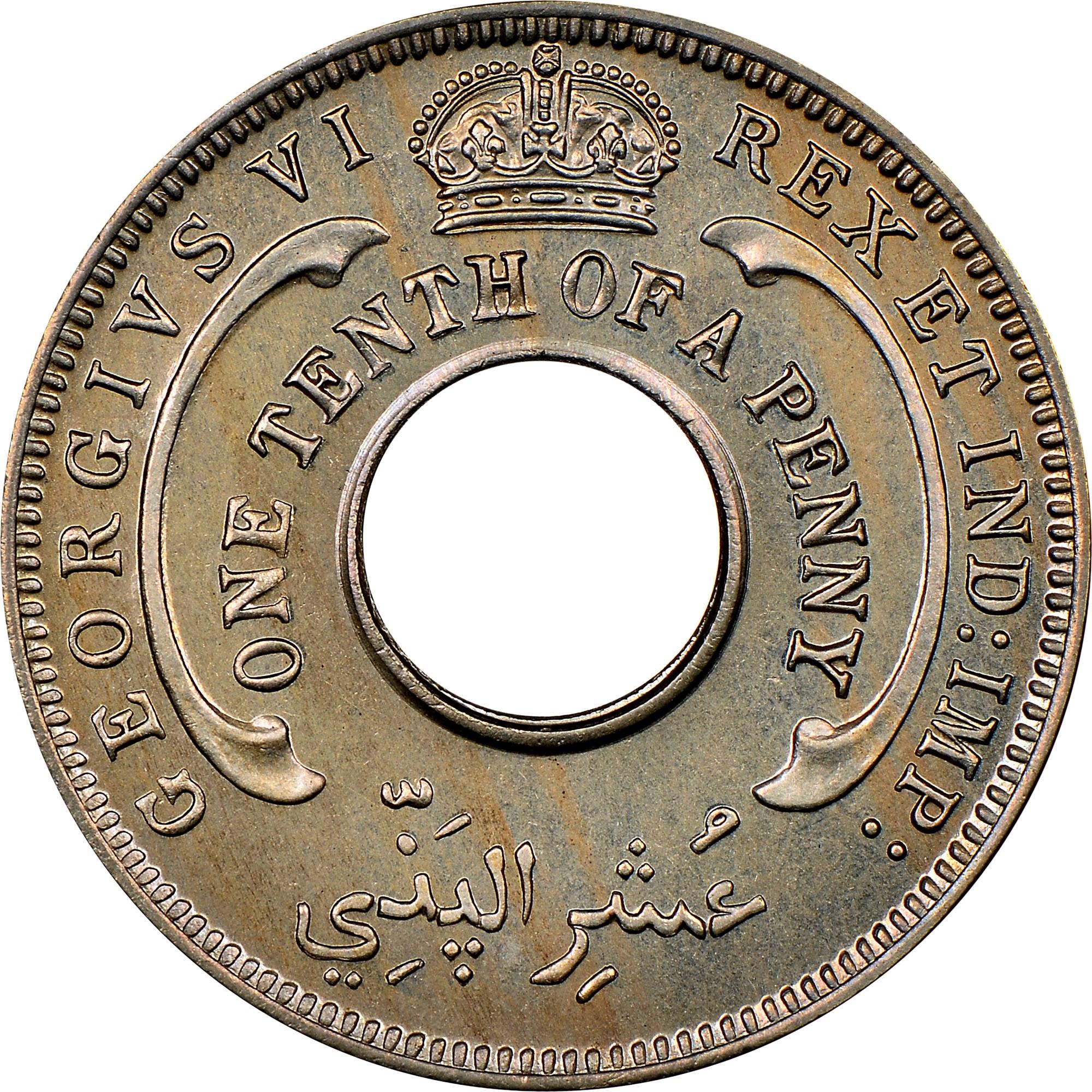 British West Africa 1/10 Penny obverse