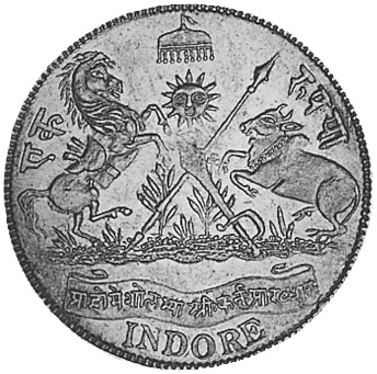 India-Princely States INDORE Rupee reverse