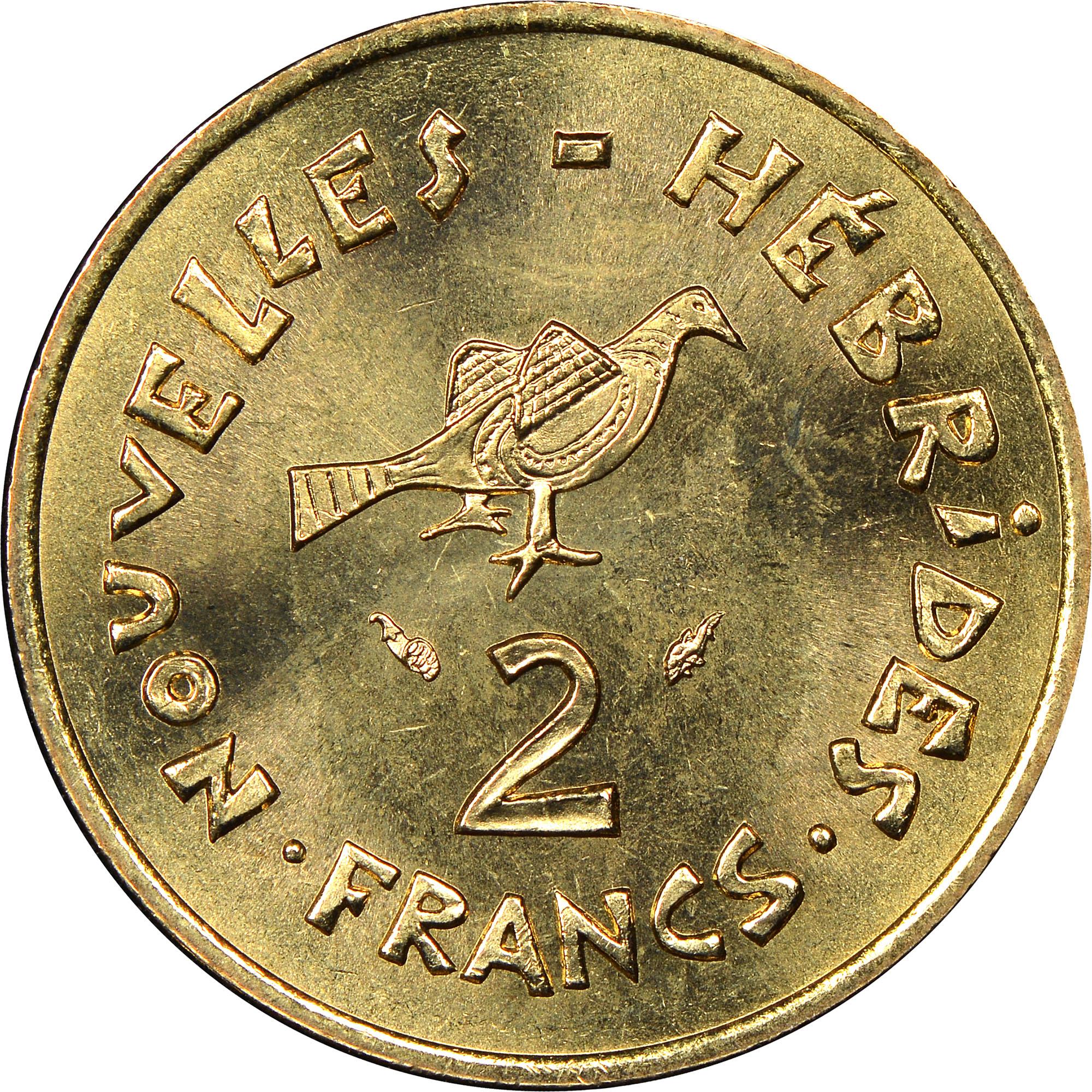 New Hebrides 2 Francs reverse