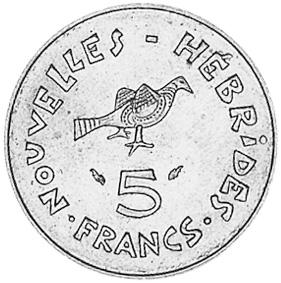 New Hebrides 5 Francs reverse