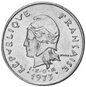 New Hebrides 10 Francs obverse