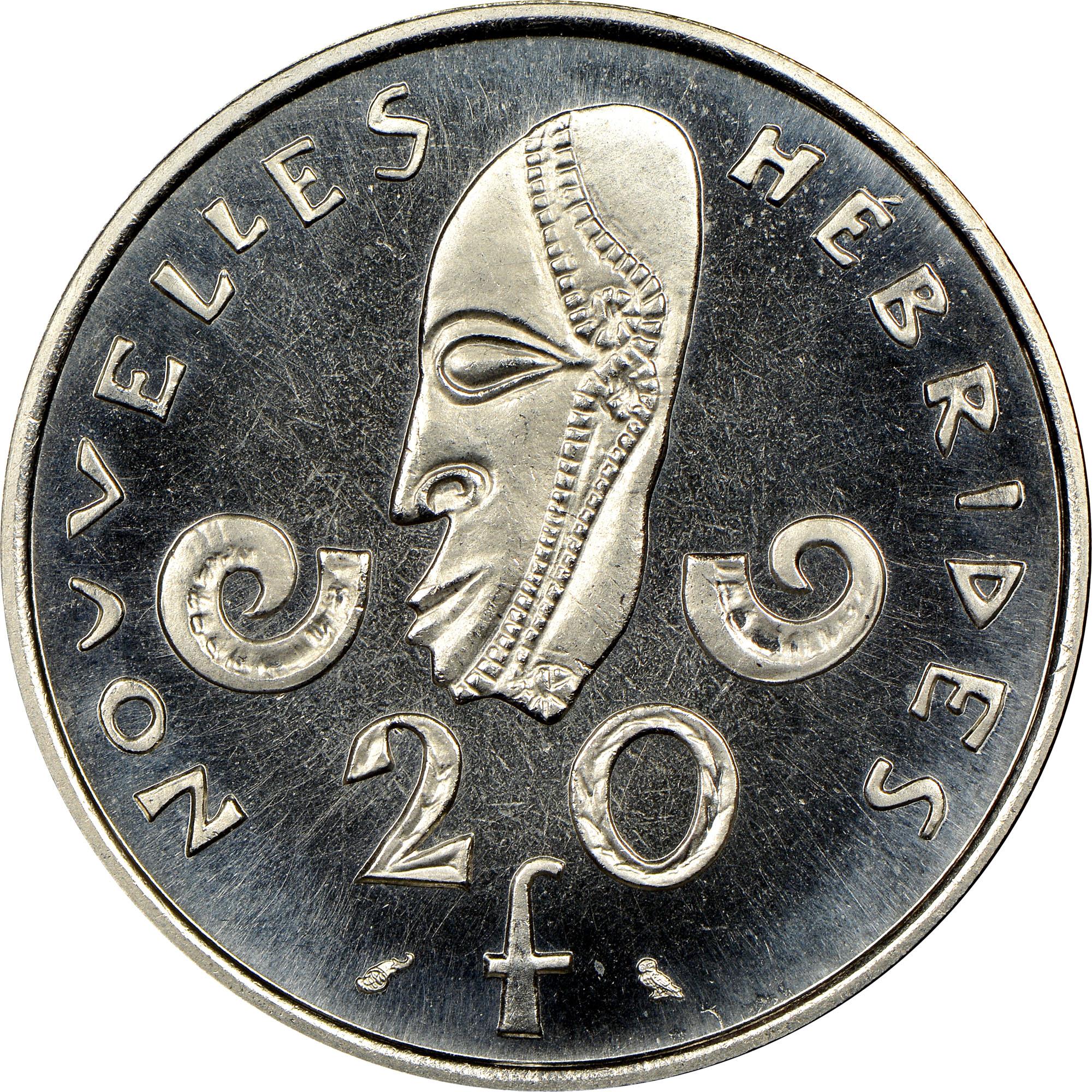New Hebrides 20 Francs reverse
