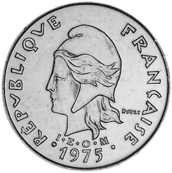 New Hebrides 20 Francs obverse