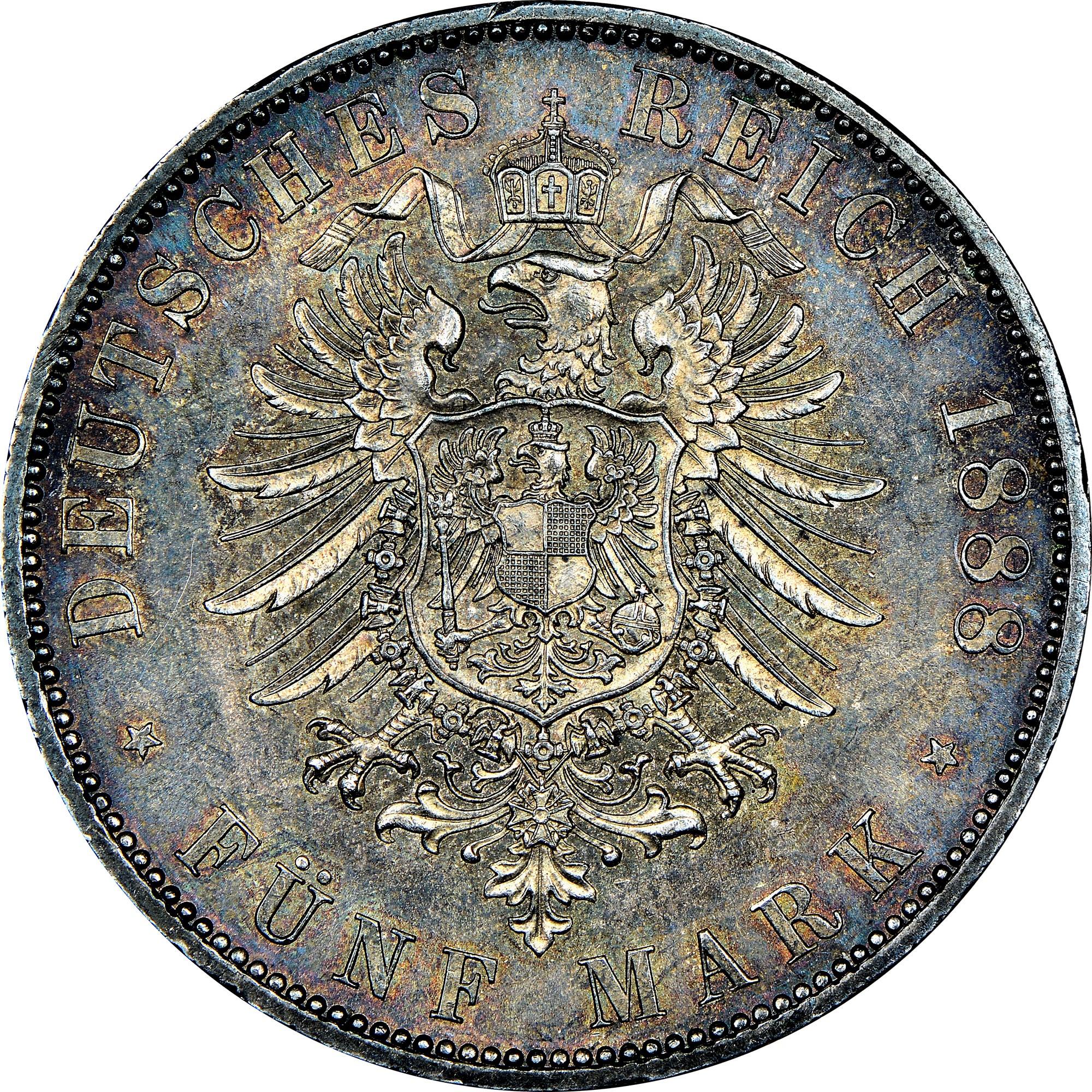 German States PRUSSIA 5 Mark reverse