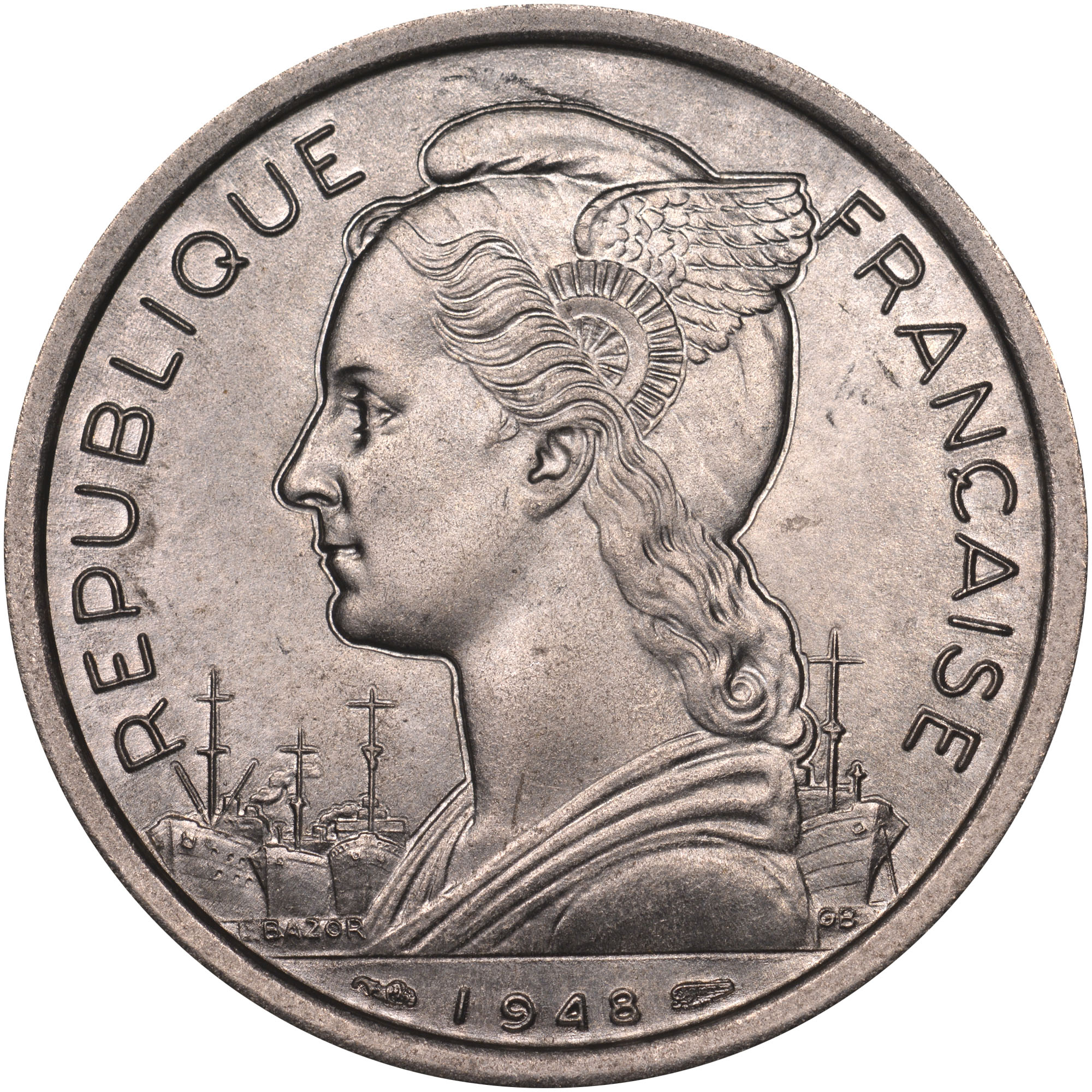 Old Reunion Islands Coin 1948 Reunion 2 Franc Vintage French Pacific Currency