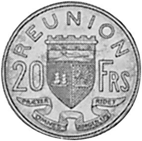 Reunion 20 Francs reverse