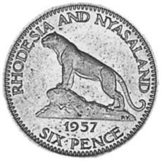 Rhodesia And Nyasaland 6 Pence reverse