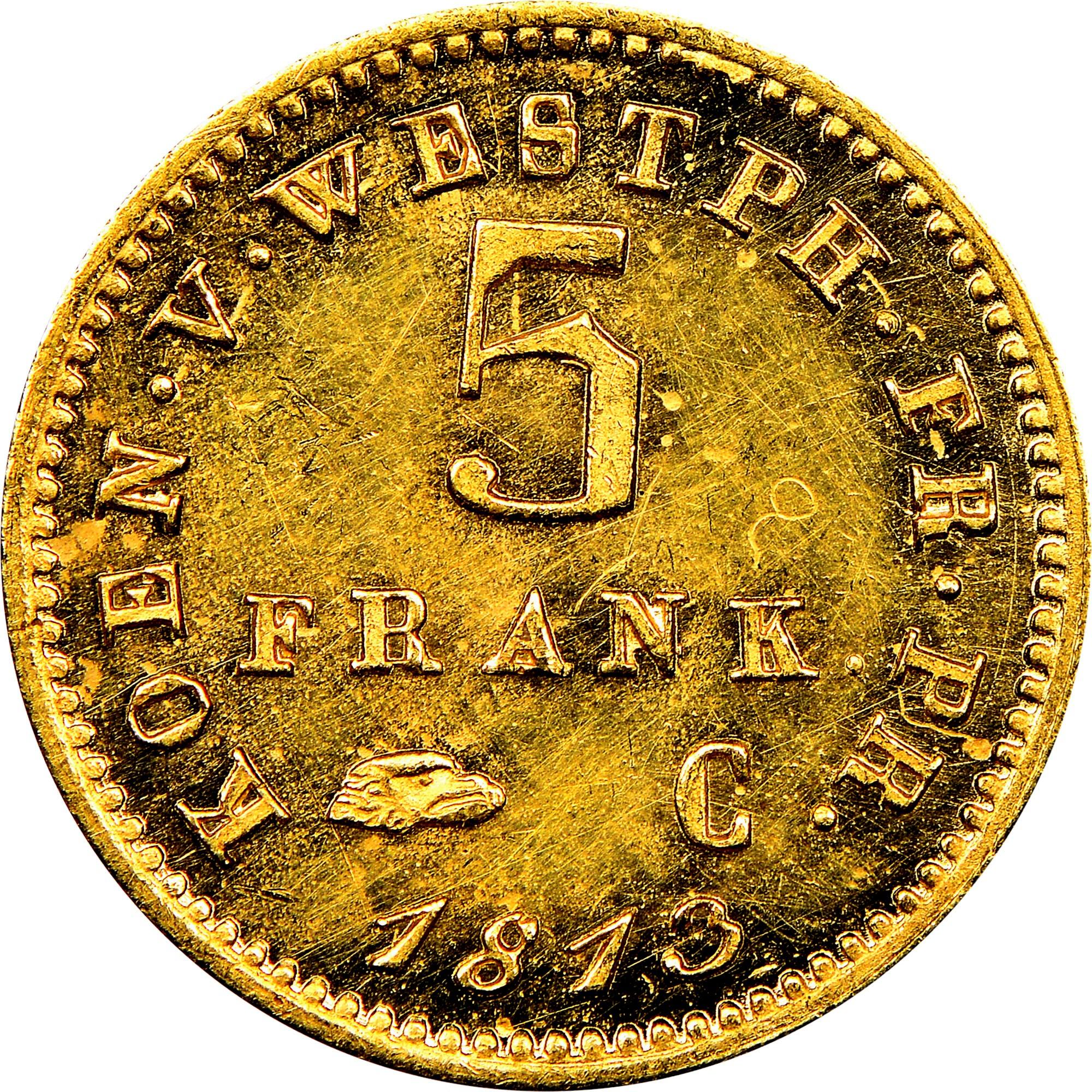 German States WESTPHALIA 5 Franken reverse