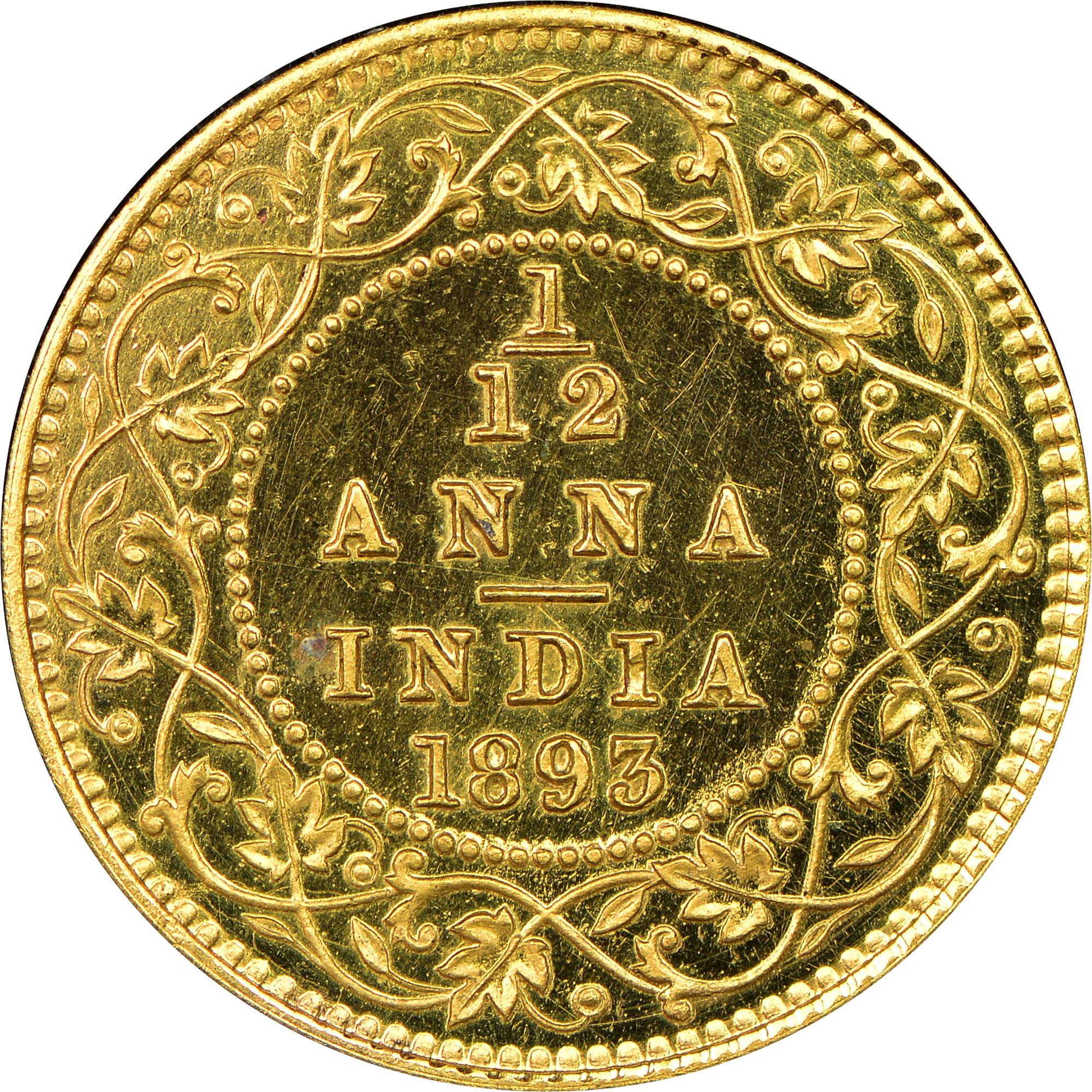 India-British 1/12 Anna reverse