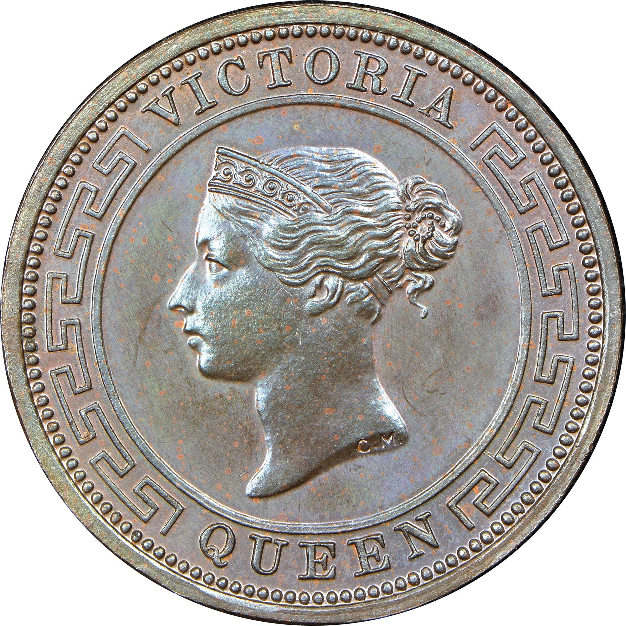 1870-1901 Ceylon 1/2 Cent obverse