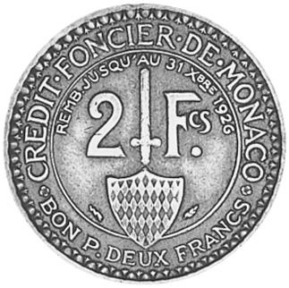 Monaco 2 Francs reverse