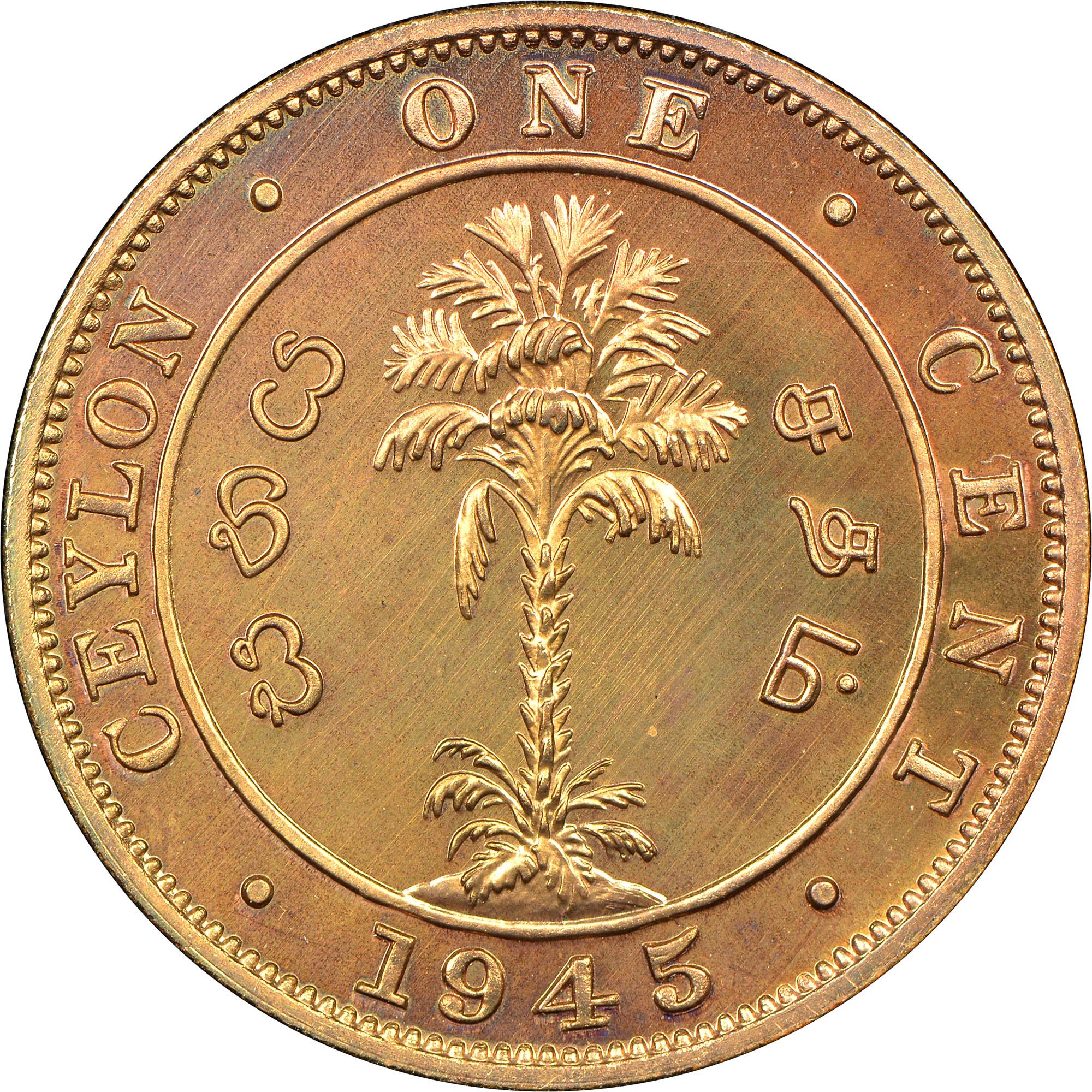 1942-1945 Ceylon Cent reverse