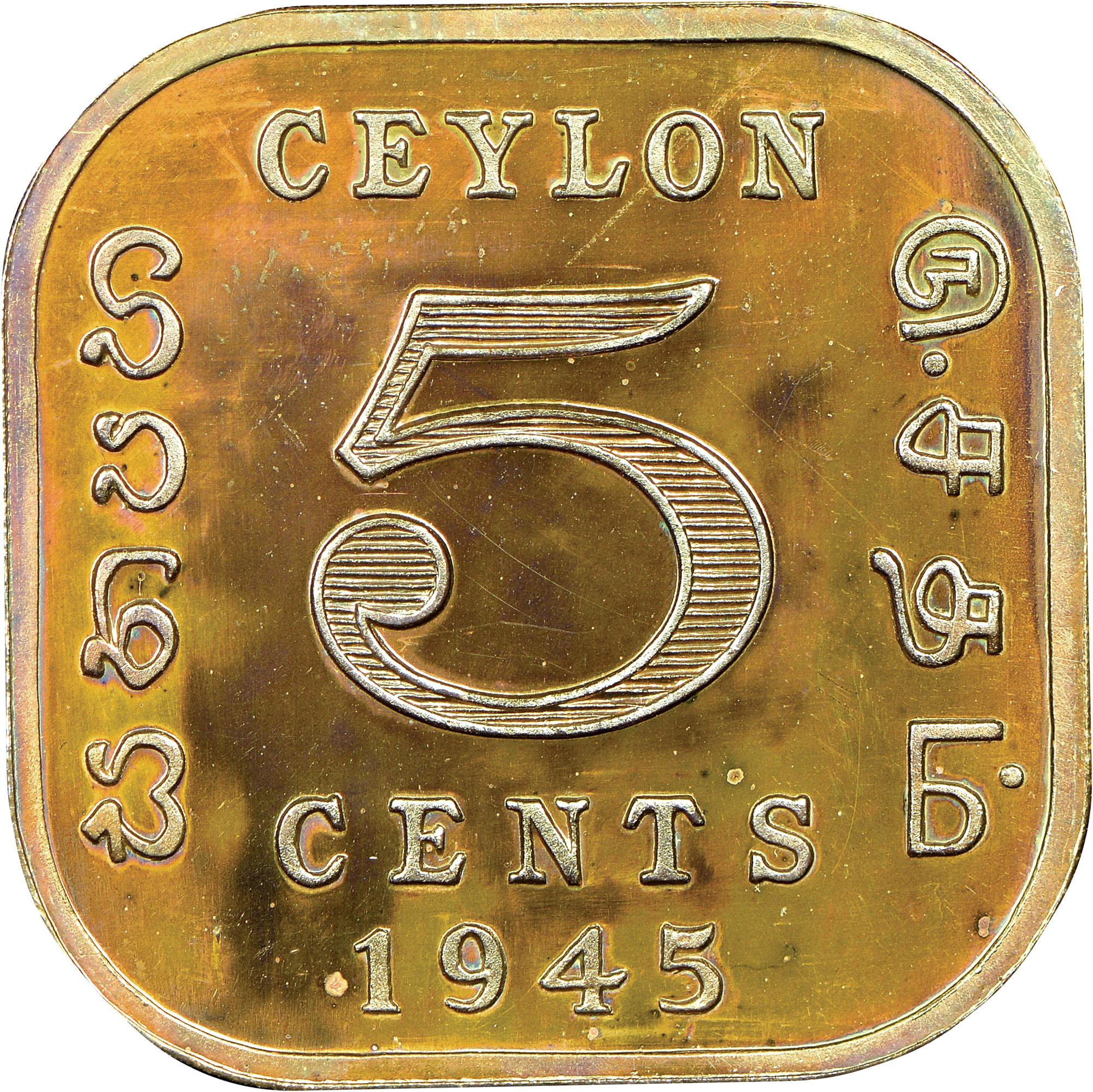 Ceylon 5 Cents reverse