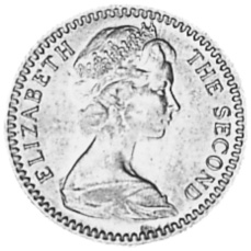 Rhodesia 6 Pence = 5 Cents obverse
