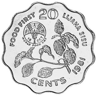 Swaziland 20 Cents reverse