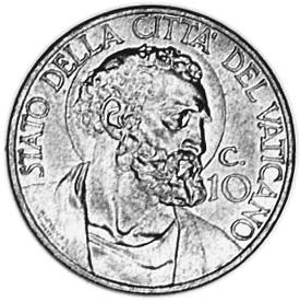 Vatican City 10 Centesimi reverse